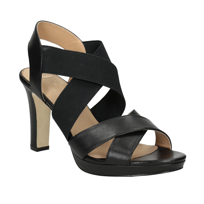 Čierne kožené sandále na podpätku s pružením