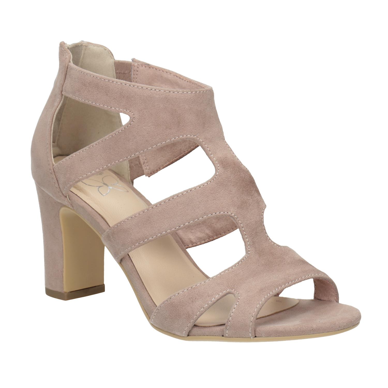 Růžové sandály na stabilním podpatku