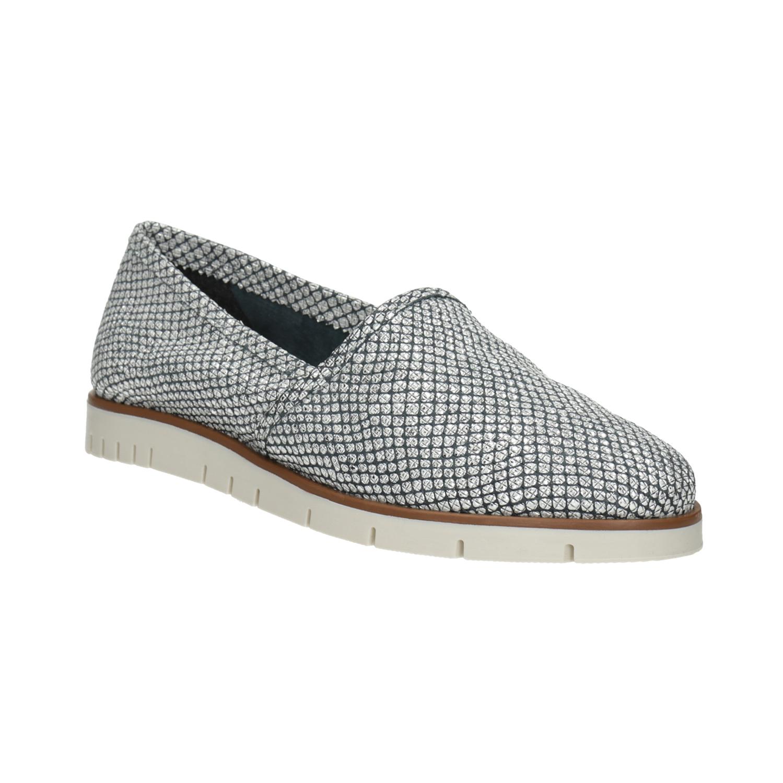Srebrne skórzane buty typu slip-on - 5361604