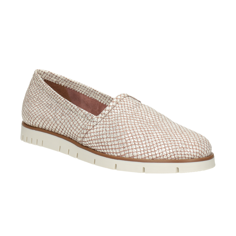 Skórzane buty damskie typu slip-on na kontrastowej podeszwie - 5365603