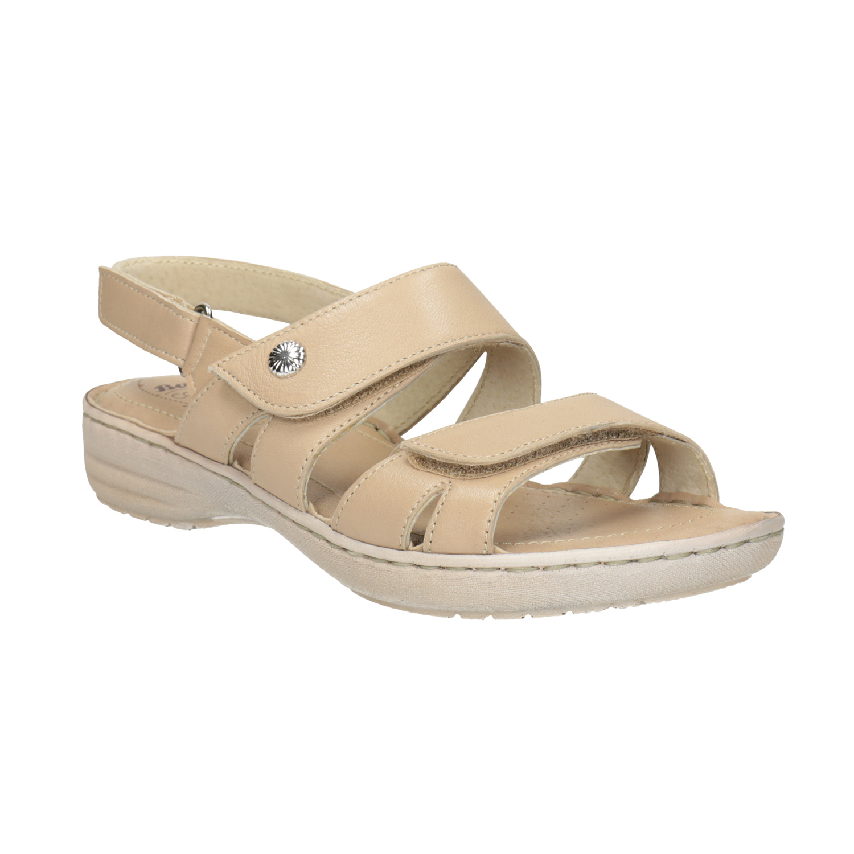 Dámské kožené sandály se suchými zipy béžové