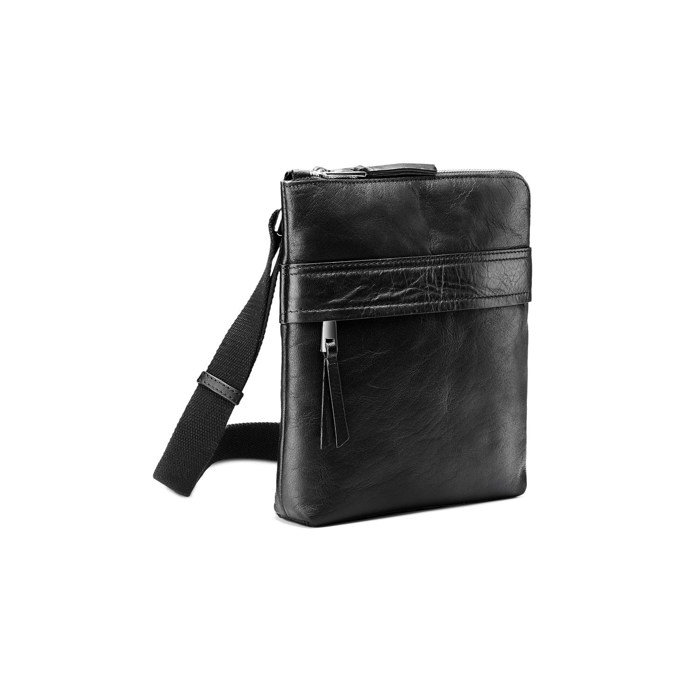 Czarna skórzana torba typu crossbody - 9646288