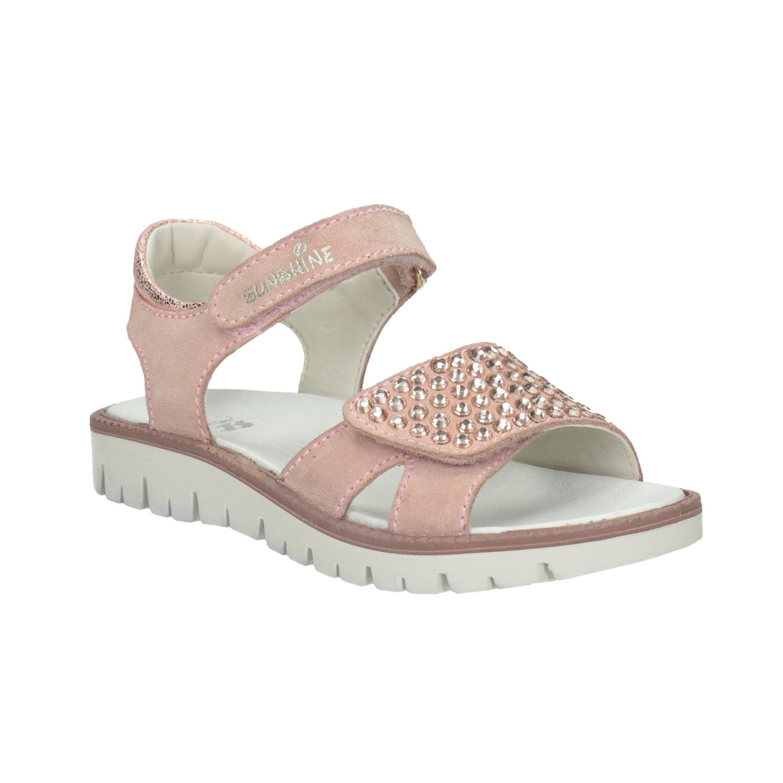 Dívčí kožené sandály s kamínky růžové