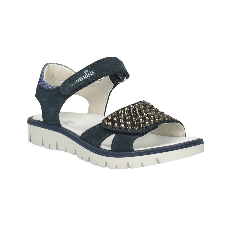 Dívčí kožené sandály s kamínky modré