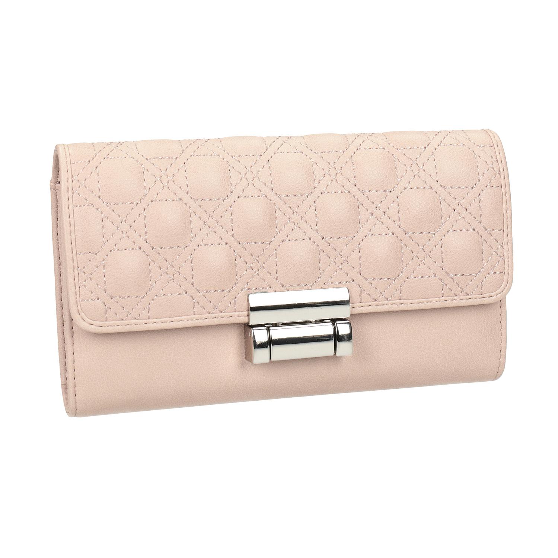 Růžová dámská peněženka s prošitím