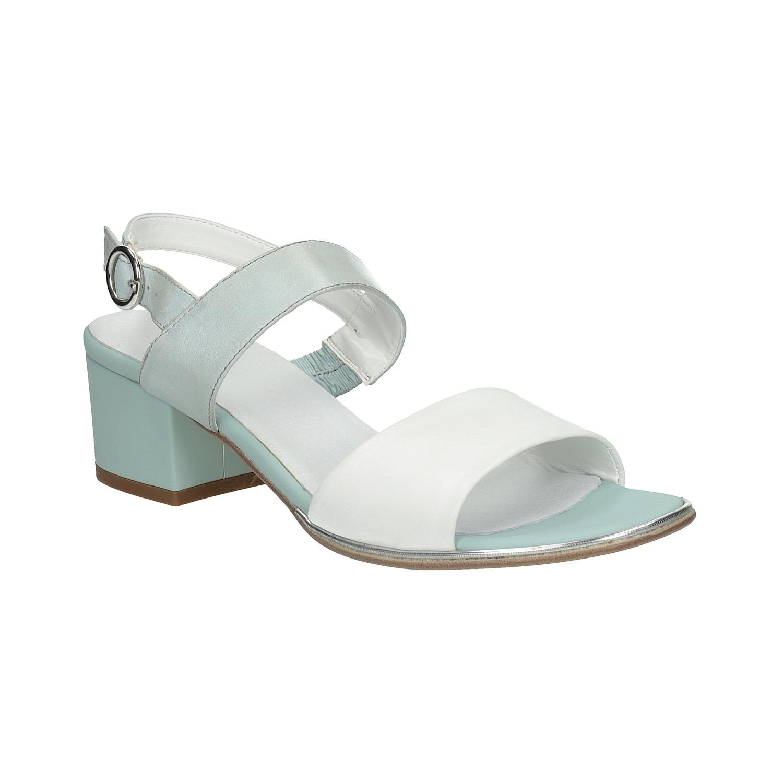 Bílo-modré sandály na nízkém podpatku