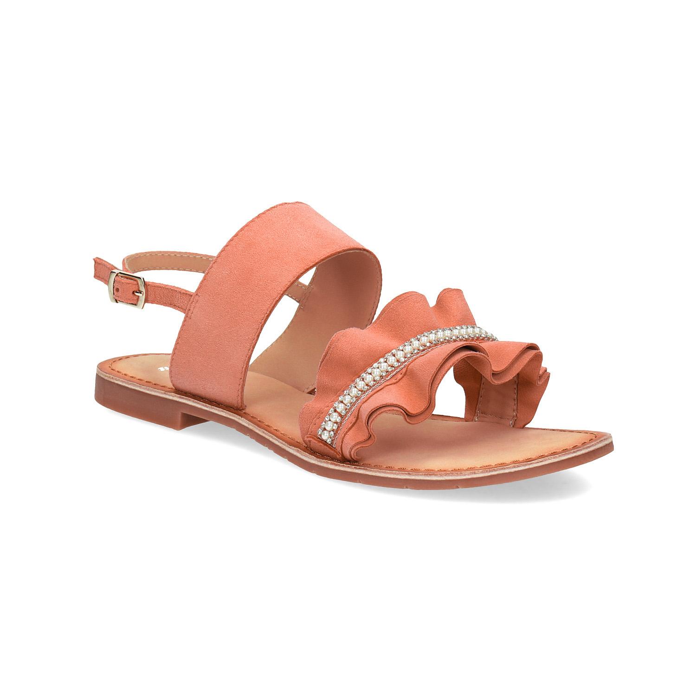 Dámské kožené sandály s perličkami růžové