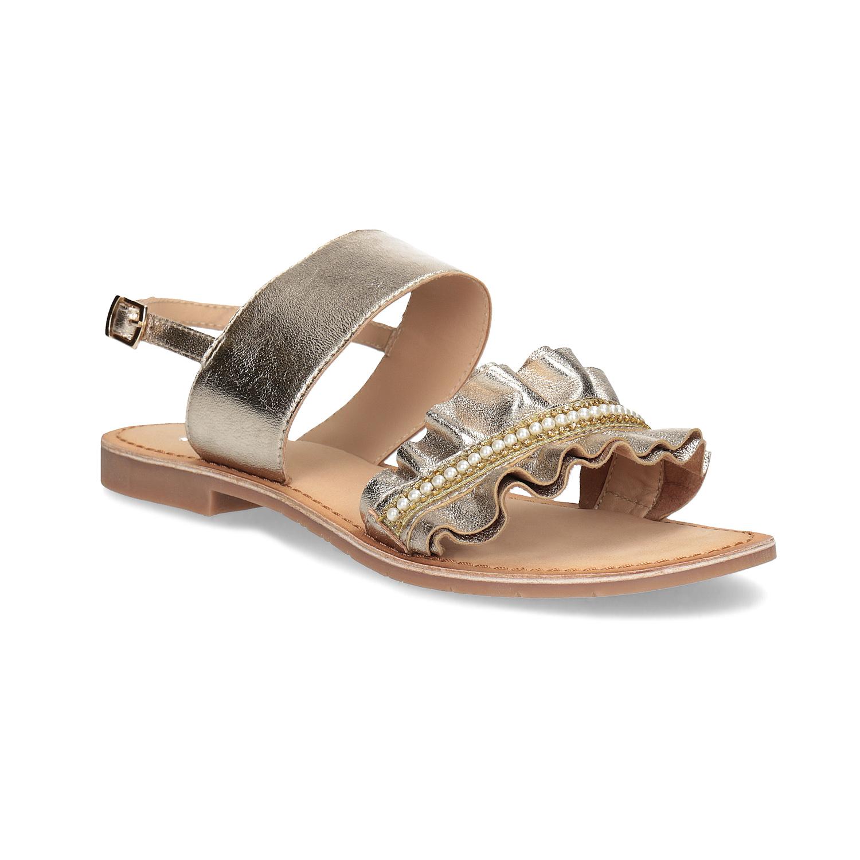 Zlaté kožené sandály s perličkami