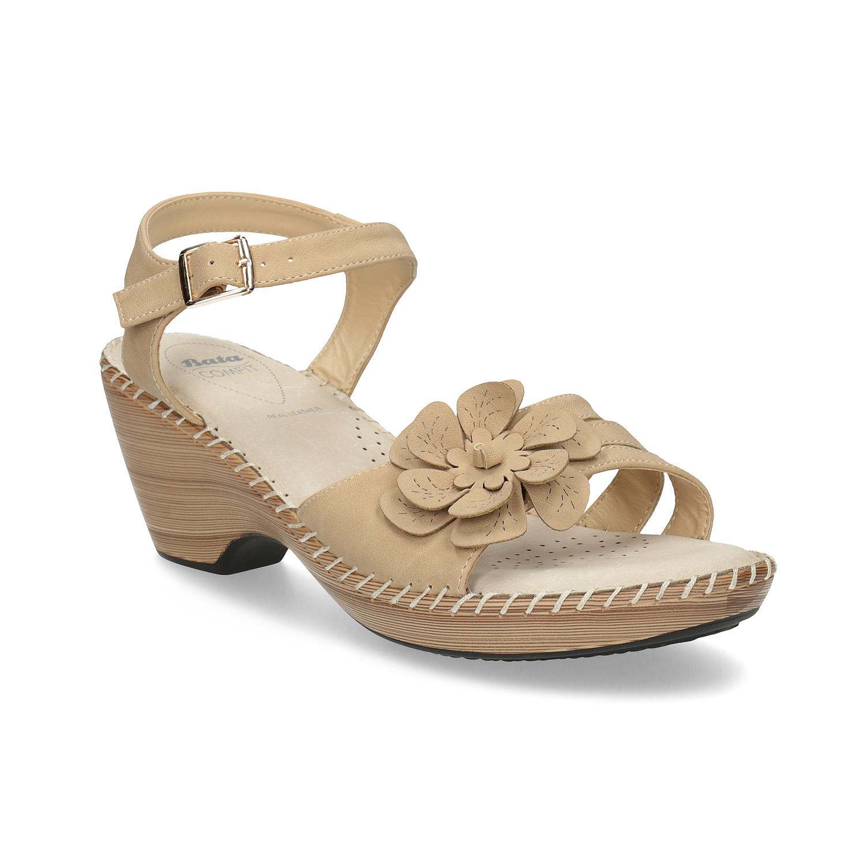 Béžové sandály s květinkou