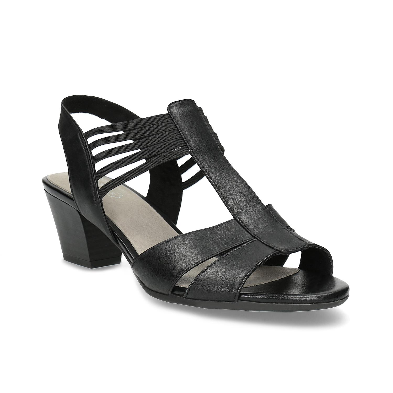 Kožené sandály na podpatku šíře H
