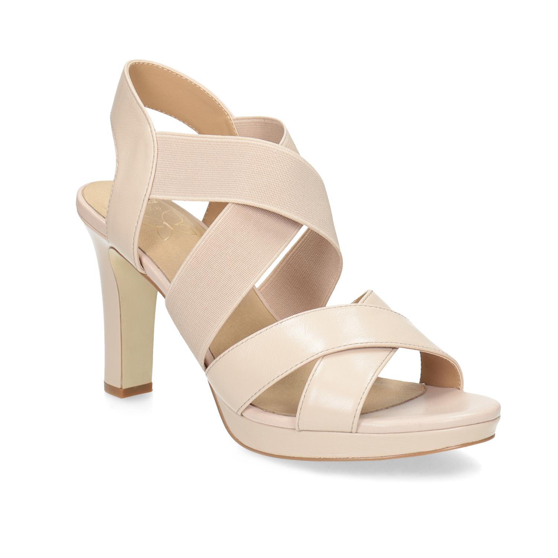 Béžové kožené sandály na stabilním podpatku