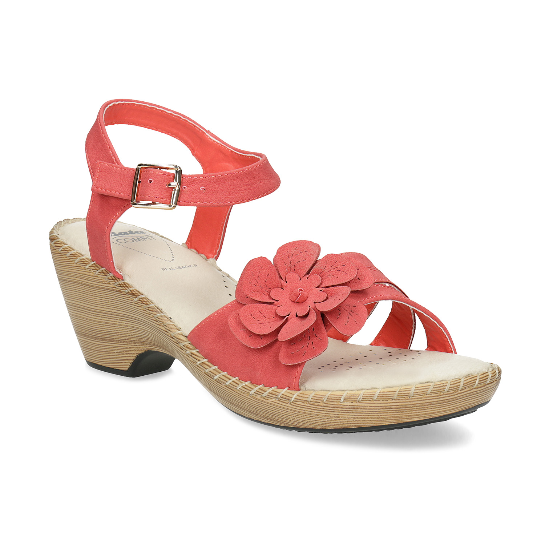 Sandály na stabilním podpatku s kytičkou