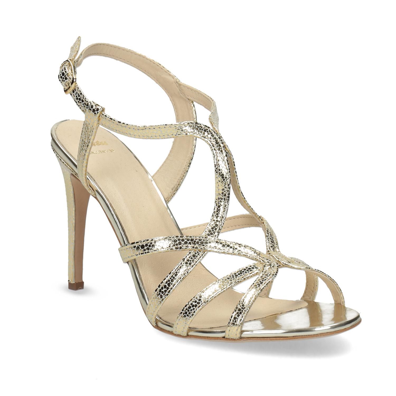 Wyjściowe złote sandały ze skóry - 7268648