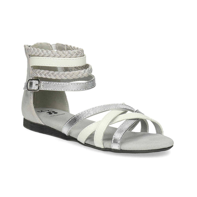 Bílo-stříbrné dívčí sandály