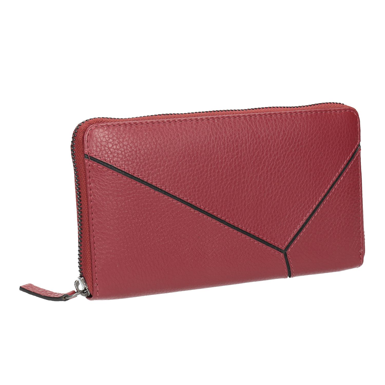 Červená kožená peněženka se vzorem
