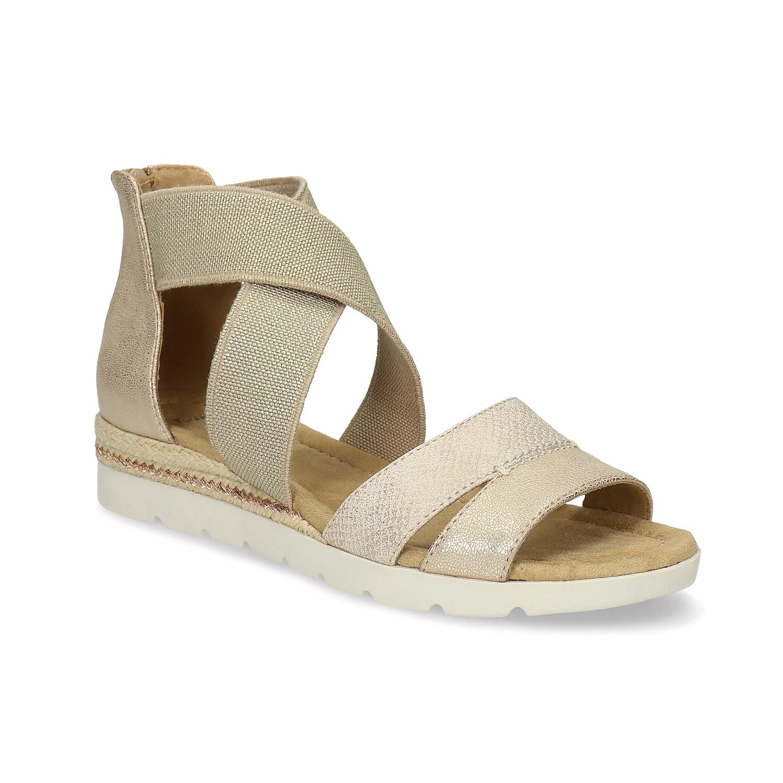 Zlaté dámské sandály na klínku
