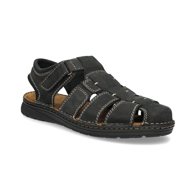 Pánské kožené sandály s plnou špičkou černé