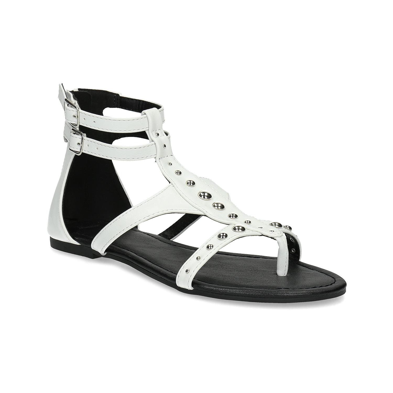 Bílé dámské sandály se cvočky