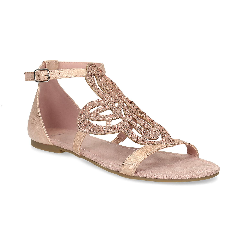 Starorůžové dámské sandály s kamínky