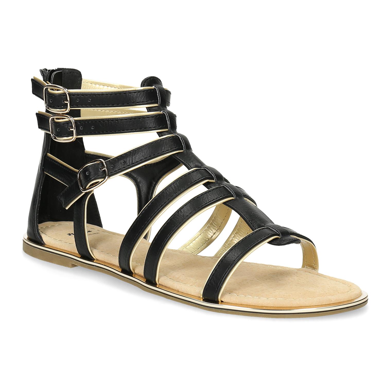 62be1b9902ea Dámske čierno-zlaté sandále