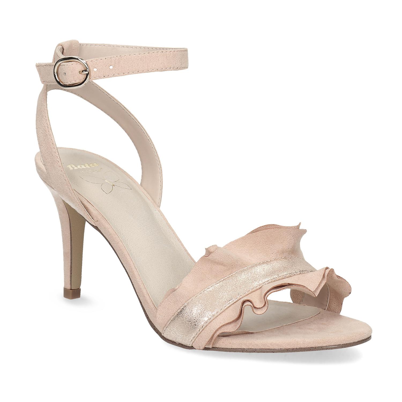 Růžové sandály na jehlovém podpatku s volánem