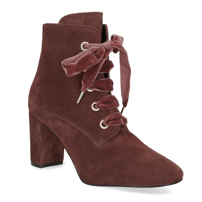 Kožené červené kotníčkové boty