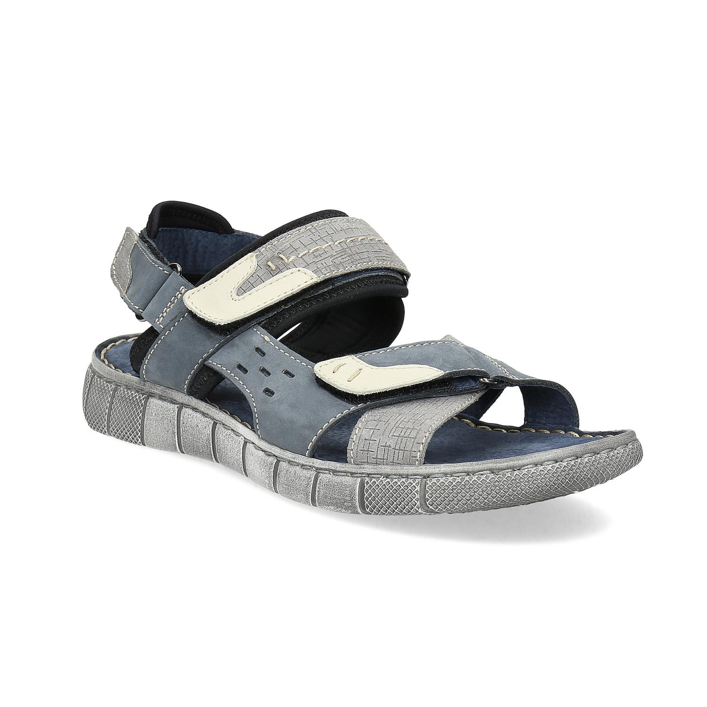 Modré kožené pánské sandály na suchý zip