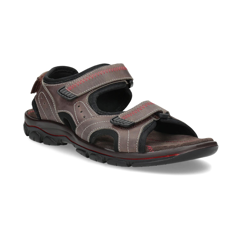 Pánské kožené sandály na suchý zip hnědé