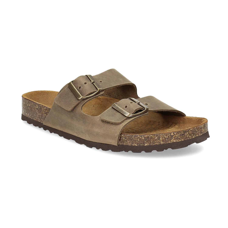 Kožené pánské sandály s korkovou podešví