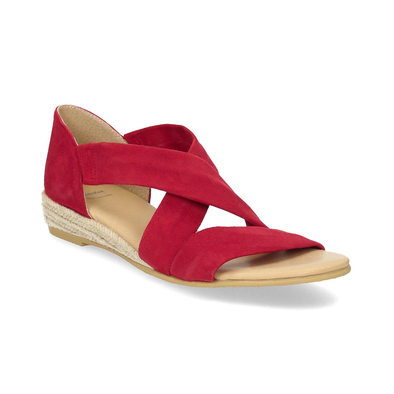 Červené kožené sandále na kline