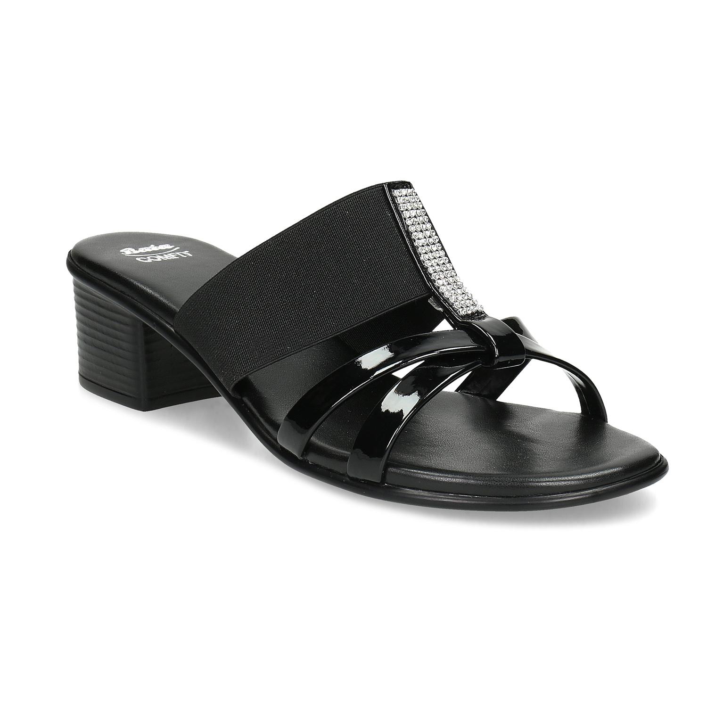 Černé sandály s kamínky na nízkém podpatku