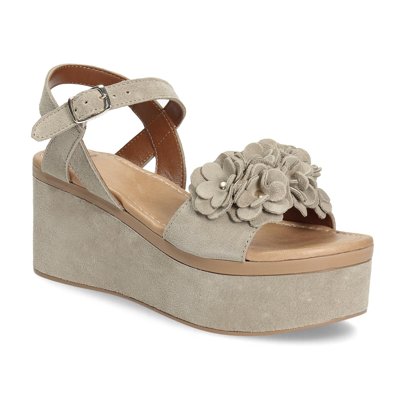 Kožené dámské sandály na flatformě
