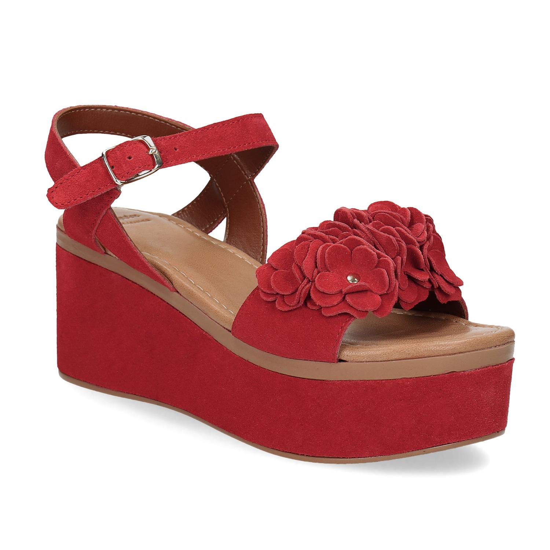 Červené sandály na flatformě