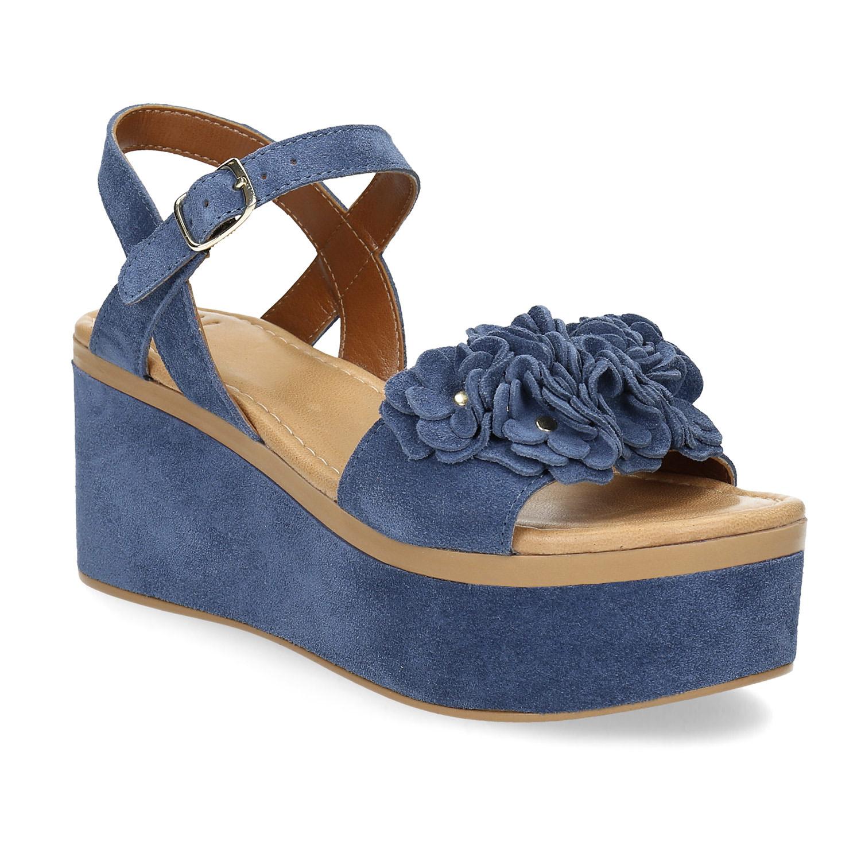 Kožené sandály na flatformě modré