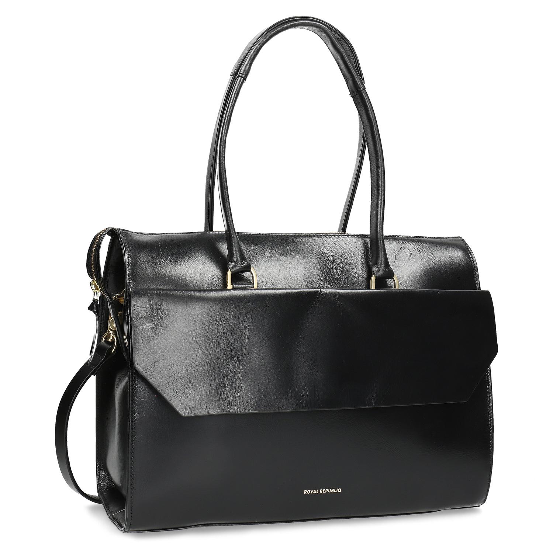 Skórzana torebka ze złotymi detalami - 9646069