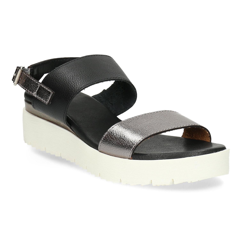 Dámské sandály na flatformě černo-stříbrné