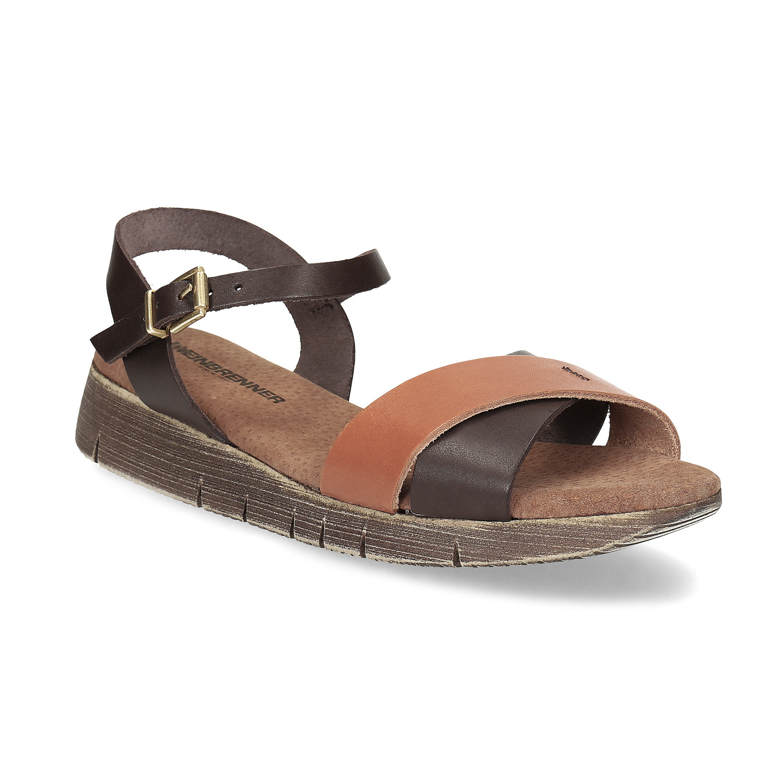Dámské hnědé kožené sandály