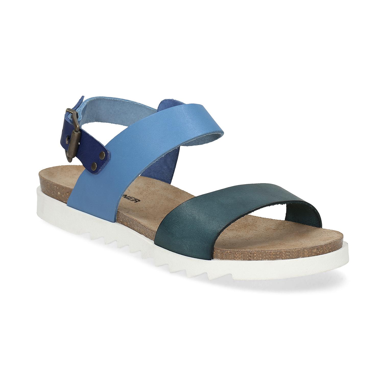 Modré kožené dámské sandály