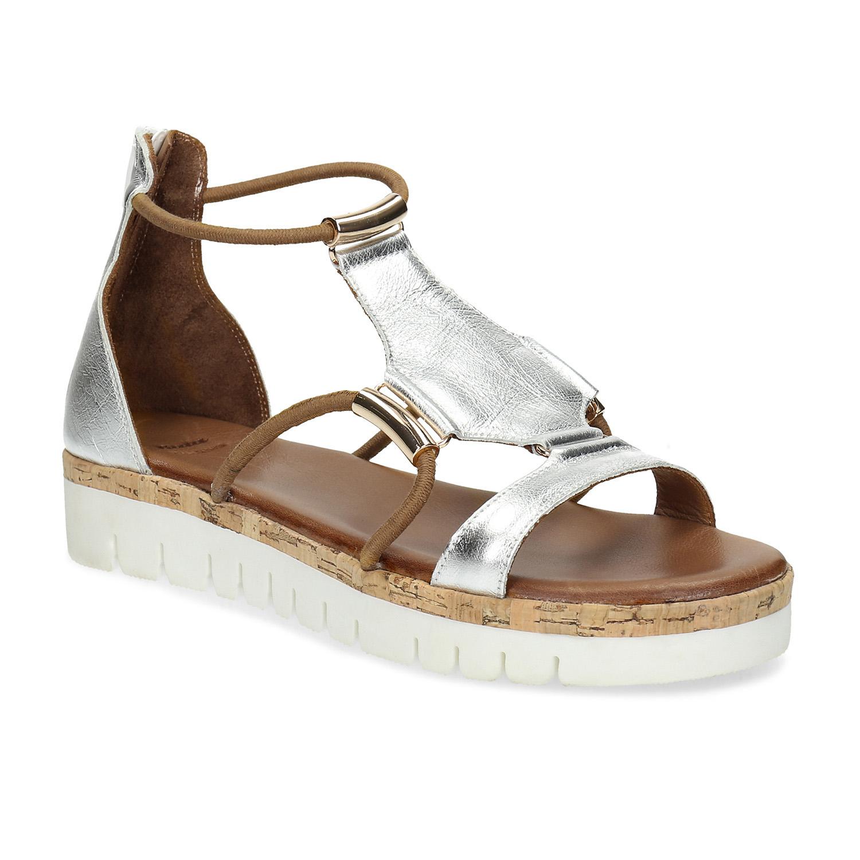 Kožené stříbrné sandály na flatformě