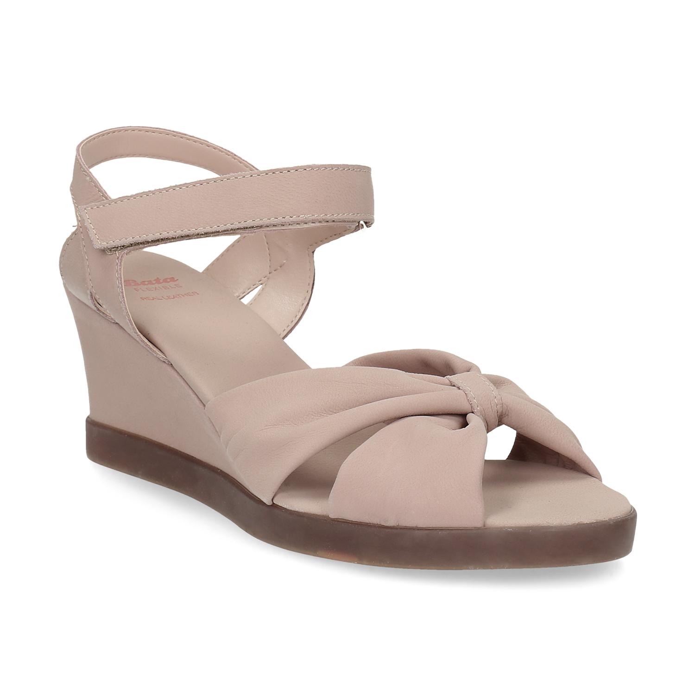 2c2d9b471269 Béžové kožené sandále na kline