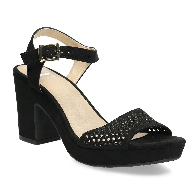 Černé sandály na širokém podpatku s kamínky