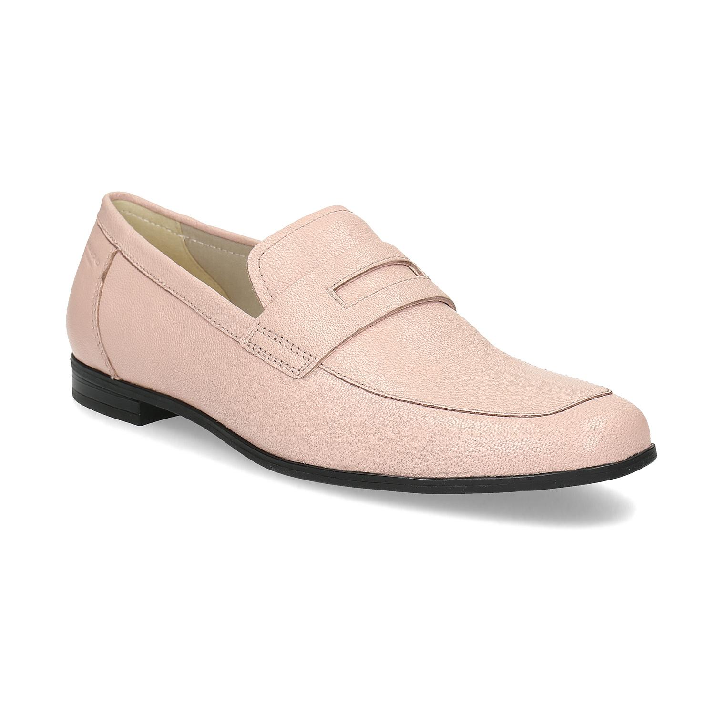 Růžové kožené Penny Loafers