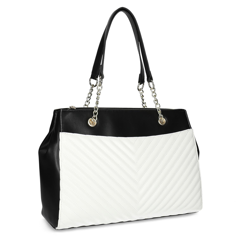 Čierno-biela kabelka s prešívaním 1aa6673583c