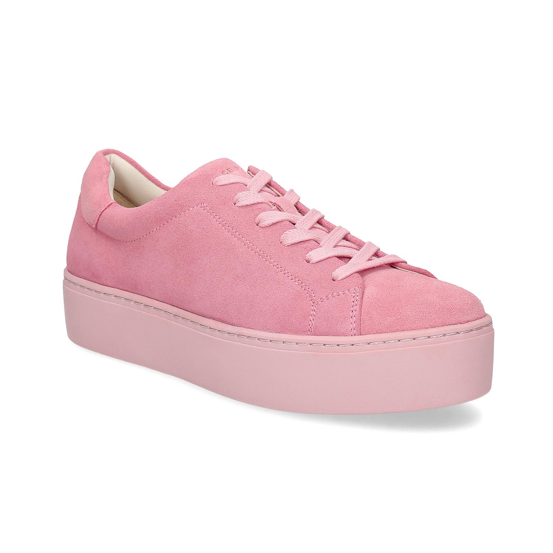Růžové kožené tenisky na flatformě