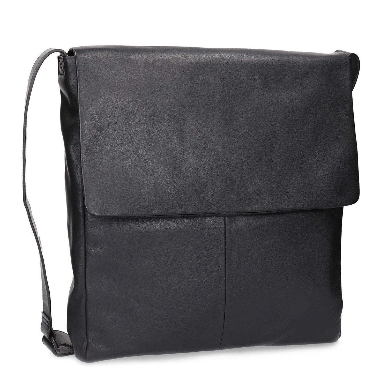 Czarna skórzana torebka typu crossbody zklapą - 9646050