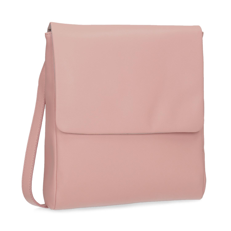 Růžová kožená Crossbody taška