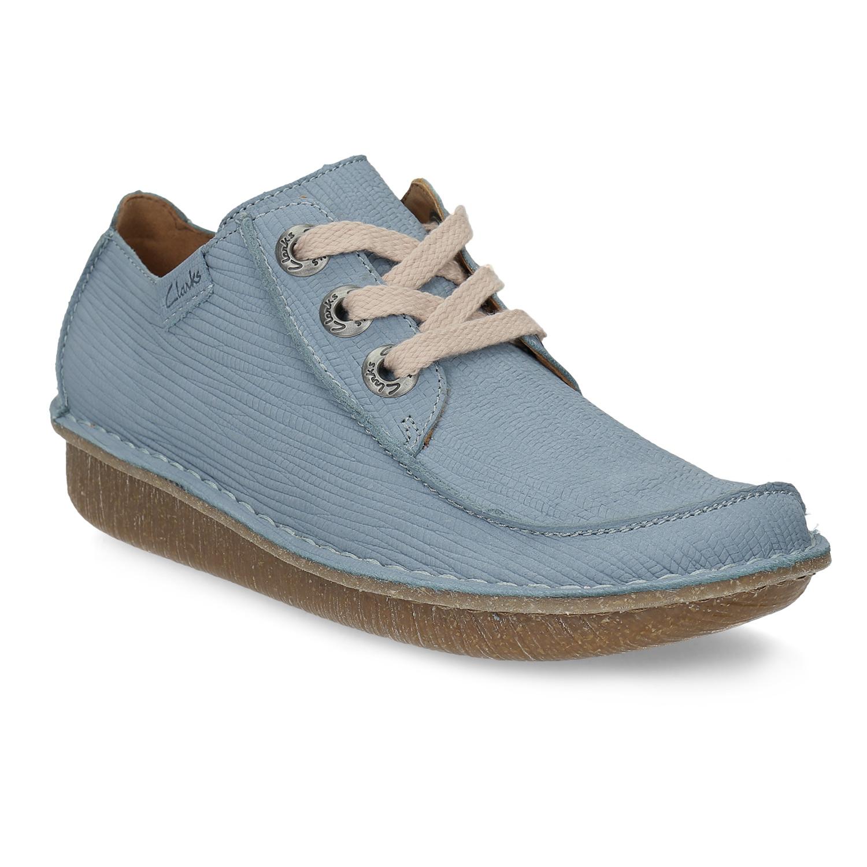 Błękitne skórzane półbuty wnieformalnym stylu - 6269071