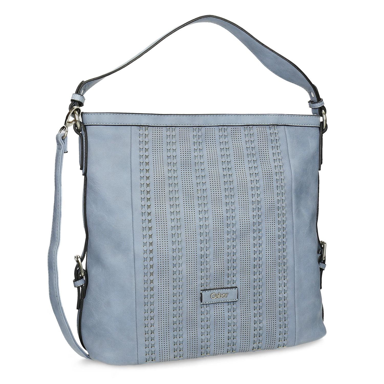 Světle modrá kabelka s perforovaným vzorem
