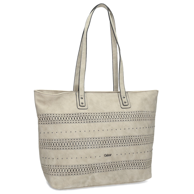 Beżowa torebka typu shopper zperforowanym wzorem - 9618442