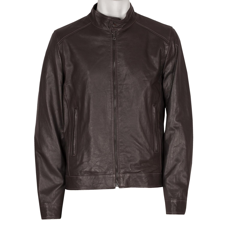 Kožená pánská bunda tmavě hnědá